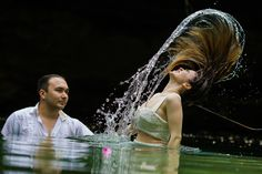 Let your love flow with our fun and romantic Trash The Dress photo session in a Mayan Cenote!💞 Photography by Daniel Gastaldi | Trash the Dress
