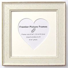 6x6 ivory off white shabby chic heart mount frame frontier picture frames http