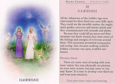 """""""Clairvoyance: Psychic Gifts"""" From the Atlantis Cards Atlantis, Spiritual Drawings, Diana Cooper, Daily Tarot, Doreen Virtue, Psychic Development, Inside Job, Angel Cards, Bible Knowledge"""