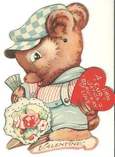 vintage valentine #boy #bear