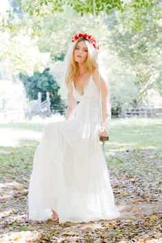 Boho Hippie Wedding Dresses summery empire waist gown