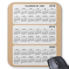 2018-2020 Tan Calendar by Janz Mouse Pad - event gifts diy cyo events