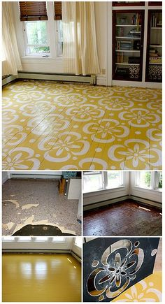 How-to floor stencil. Farmhouse inspiration: Painting and stenciling is a good alternative for floors too damaged to refinish back to warm pine.