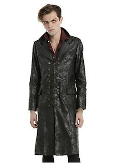 <div>Yo ho, yo ho, a pirate's life for you. Wear this coat from the limited edition <i>Once Upon A Time</i> collection and show off some serious pirate swagger. You may even be prompted to wear some guyliner. If Killian can pull it off, we're sure you can, too. Black cotton twill duster coat with a distressed allover coating and chevron perforated faux leather lapels and two front flap pockets. The front zipper closure features burnished gold Hook branded buttons on either side of the…