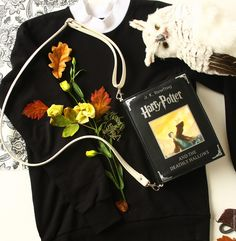 Купить Сумка Книга Гарри Поттер из кожи - черный, рисунок, Поттер, Дары Смерти, фэнтези
