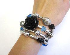 Black Sugar Skull Rose Day Of The Dead Bracelet by sweetie2sweetie