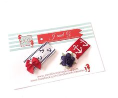 Baby/Children/Girl's Hair Clips, Summer Nautical Snap Hair Clips, Red and Navy Anchor Hair Clips, Girls Glitter Nautical Clips, Unique Clips
