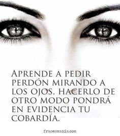 Aprende a pedir perdón mirando a los ojos, hacerlo de otro modo pondrá en evidencia tu cobardía...