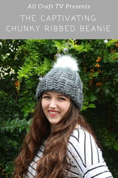 Crochet Captivating Chunky Ribbed Beanie - All Craft TV Crochet Clothes, Crochet Hats, Lion Brand Hometown Usa, Faux Fur Pom Pom, All Craft, Crochet Projects, My Design, Crochet Patterns, Winter Hats