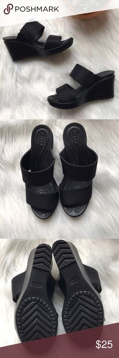 6ecc5fe1f02a Shop Women s CROCS Black size 4 Wedges at a discounted price at Poshmark.  Description  Black Crocs Wedge Sandals in good condition.
