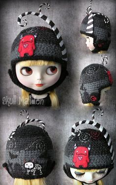 Cute Hats, Kids Hats, Doll Clothes Patterns, Hat Making, Blythe Dolls, Doll Toys, Crochet Projects, Winter Hats, Crochet Hats