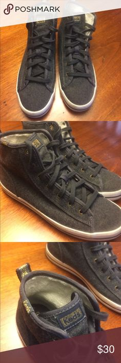 Women's Keds grey flannel high tops Grey flannel soft high tops by Keds Keds Shoes Sneakers