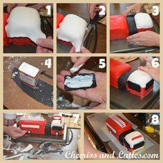 Tutorial en: http://www.cheeriosandlattes.com/how-to-make-a-fire-truck-cake/