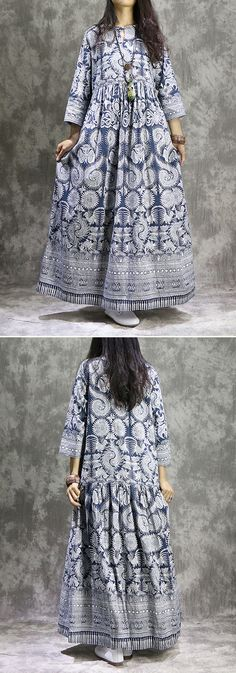 49% OFF! US$29.99 only Plus Size Women Ethnic Printed 3/4 Sleeve Vintage Maxi Dresses SHOP NOW!!!