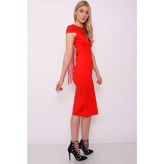 Rare London Red Fringe Back Midi Dress (£40) ❤ liked on Polyvore featuring dresses, midi dress, long pink dress, long midi dress, red dress e pink summer dresses