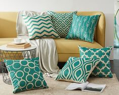 New Quatrefoil ,Teal, Turquoise Geometric Cushion Cover Sofa Throw Pillows, Throw Pillow Cases, Decorative Throw Pillows, Turquoise Cushions, Drawing Furniture, Geometric Cushions, Quatrefoil, Cushion Covers, Furniture Making