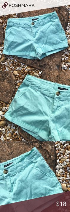 """Cotton On Cuffed Mint Green Shorts Cotton On Cuffed Mint Green Shorts. Zip fly with button waistband. Front seemed side pockets. Single seamed back pocket. 98% Cotton 2% Elastane. 2.5"""" inseam. Excellent used condition. Size 2.  Trades Modeling Pics. Cotton On Shorts"""