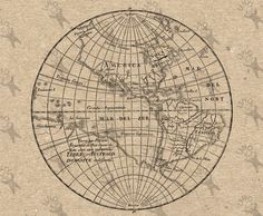 Antique Map of the World Western hemisphere Globe Instant Download image printable picture transfer decor prints iron on etc HQ 300dpi by UnoPrint on Etsy