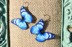 Blue Butterfly Earrings by ValeriesVanityMirror on Etsy