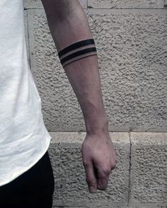 Mens Two Black Band With Thin Solid Line Tattoo On Forearm