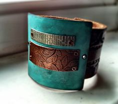 Verdigris Mixed Metal Leather Cuff. $80.00, via Etsy.