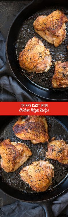 This Cast Iron Skillet Chicken Thighs Recipe is a game-changer. It's one of the simplest ways to make crispy chicken in the oven every time! Get the full recipe here and make these tonight. Cast Iron Chicken Recipes, Cast Iron Recipes, Chicken Thigh Recipes, Chicken Meals, Cast Iron Skillet Cooking, Iron Skillet Recipes, Skillet Meals, Skillet Chicken Thighs, Paleo Recipes