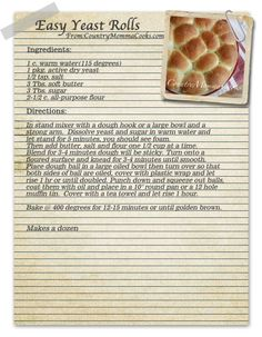 dangerous for me - yeast roll recipe that sounds easy!