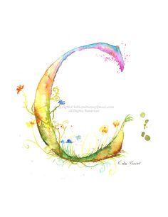 Letter M - Watercolor Monogram - Flower Lettering - Watercolor ...