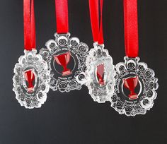 Commemorative medals at the European Week of Sport. Medals plexiglass colorless and red.