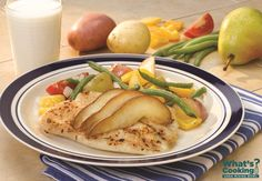 Tilapia with Pears and Carnival Roasted Potatoes #fruit #veggies #protein #MyPlate #WhatsCooking