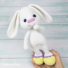 The Pretty Bunny Amigurumi Pattern will help you to create a crochet toy with a lot of cute details. This lovely amigurumi bunny is an ideal Easter gift! Crochet Bunny Pattern, Easter Crochet Patterns, Crochet Rabbit, Cute Crochet, Crochet Baby, Crochet Pikachu, Crochet Patterns Amigurumi, Amigurumi Doll, Crochet Dolls