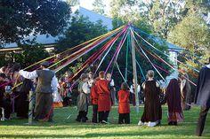Maypole Dance at wedding.    From Kjirsten& Bruces medieval pagan handfasting vow renewal   Offbeat Bride
