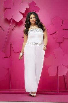 Dressy Pantssuit in Elegant White. Ashley Stewart