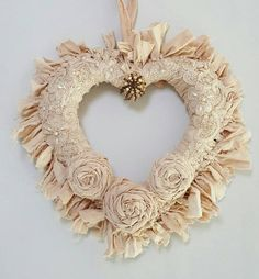 handmade Rag Wreath ... beige  .. heart shaped ...Shabby Chic ... rolled roses ... lace appliques ...