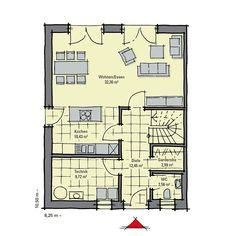 duo 113 doppelhaus mit je 113 qm wohnfl che grundriss erdgeschoss mit 58 73 qm house. Black Bedroom Furniture Sets. Home Design Ideas