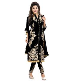 Rajesh Enterprise Black Pure Georgette Unstitched Dress Material - http://weddingcollections.co.in/product/rajesh-enterprise-black-pure-georgette-unstitched-dress-material/