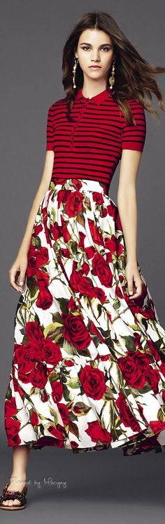♔Dolce & Gabbana.2015♔love the skirt! Would probably wear a different top though...Love the vibrant skirt!!!!