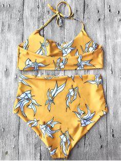 Halter Bralette High Waisted Bikini Set YOLK YELLOW : Bikinis M | ZAFUL