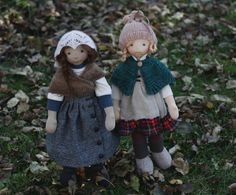 Skye and Iona, two natural fiber art dolls. By Fig and me.