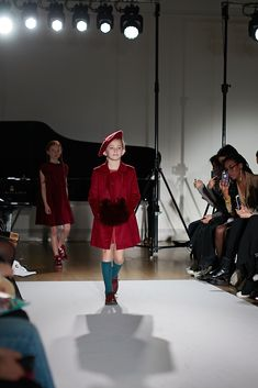 Amelie et Sophie at MiniMode catwalk showing AW 2018 Collection during London Fashion Week! Photo by Emma Wright Photography