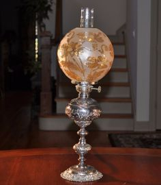 Junior Silver Plate Oil Lamp w Acid Cut Water Lily Gold Shade