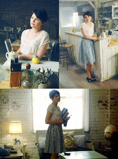Ginnifer Goodwin as Mary Margaret in Once Upon a Time. Love her short hair / pixie cut and her adorable industrial-meets-shabby chic loft.
