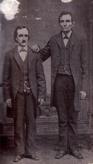 Edgar Allan Poe poses with Abraham Lincoln in Mathew Bradys Washington, D.C. studio- February 4th, 1849.  WAT