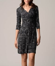 This Onyx & Gray Abstract Gathered Three-Quarter Sleeve Dress by Christine V is perfect! #zulilyfinds