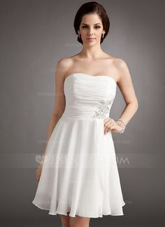 Wedding Dresses - $99.99 - A-Line/Princess Strapless Knee-Length Chiffon Wedding Dress With Ruffle Lace Beadwork Sequins (002012118) http://jjshouse.com/A-Line-Princess-Strapless-Knee-Length-Chiffon-Wedding-Dress-With-Ruffle-Lace-Beadwork-Sequins-002012118-g12118