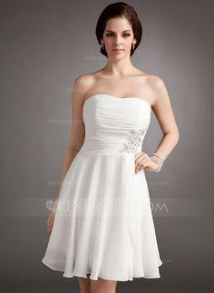 Wedding Dresses - $99.99 - A-Line/Princess Strapless Knee-Length Chiffon Wedding Dress With Ruffle Lace Beadwork Sequins (002012118) http://jjshouse.com/A-Line-Princess-Strapless-Knee-Length-Chiffon-Wedding-Dress-With-Ruffle-Lace-Beadwork-Sequins-002012118-g12118?ver=xdegc7h0