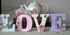 Shabby Chic Home Decor Arte Shabby Chic, Shabby Chic Bedrooms, Vintage Shabby Chic, Shabby Chic Homes, Nursery Letters, Diy Letters, Wood Letters, Decoupage Art, Decoupage Vintage