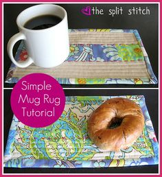 the split stitch: Get Your Craft On! Simple Mug Rug Tutorial + How to Sew on Straight Grain Binding with Mitered Corners