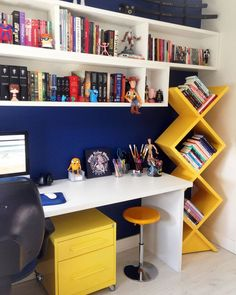 Trendy Home Library Office Bookshelves Desks Ideas Study Table Designs, Study Room Design, Study Room Decor, Home Room Design, Home Office Design, Home Office Decor, Bedroom Decor, House Design, Home Decor