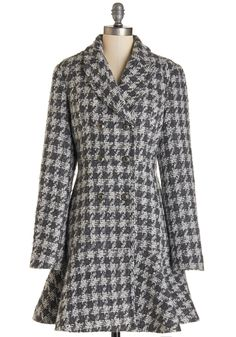 Brisk Beach Adventures Coat. You don't need sunshine and warm weather to enjoy the beach - youve found that you prefer the time of year when you can fasten the anchor-printed buttons of this houndstooth coat and walk along the empty shoreline! #grey #modcloth